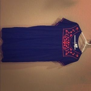 Old Navy embroidered dress, navy and orange